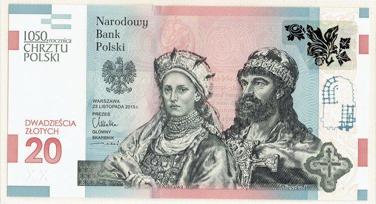 Polska 20 Zlotych 2016 1050 Rocznica Chrztu Polski Banknoty Polska Kolekcjonerskie Sklep Kolekcjoner Szczecin